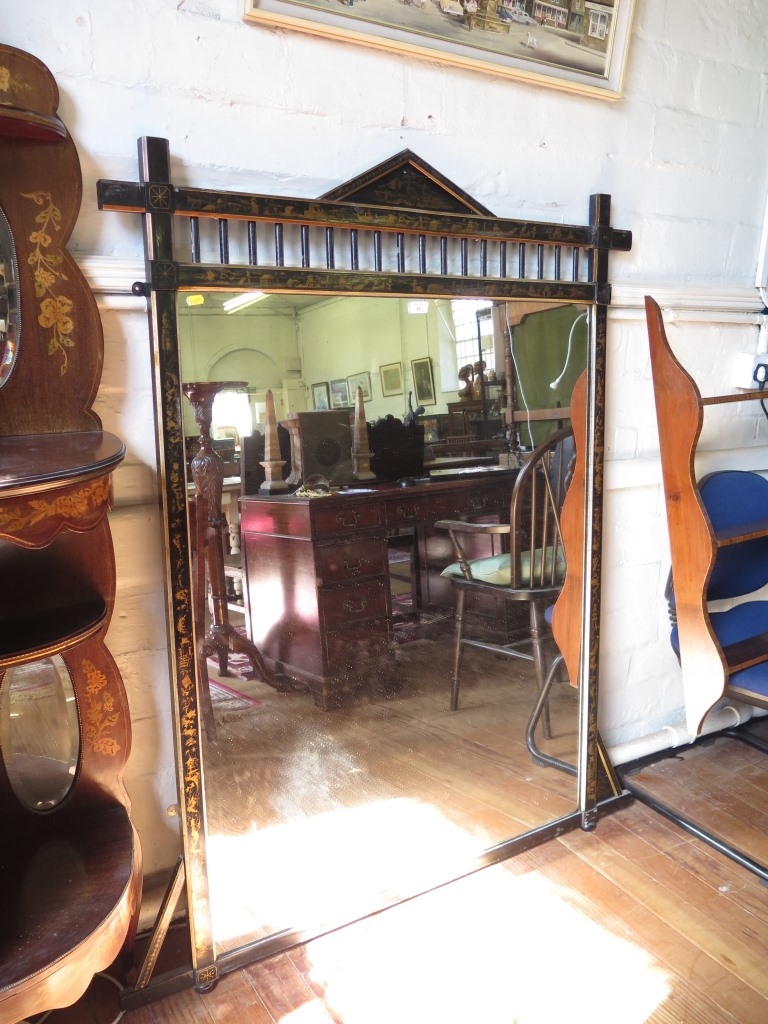 Lot 55 - A late Victorian Aesthetic design ebonised overmantel mirror, with applied Chinoiserie designs,