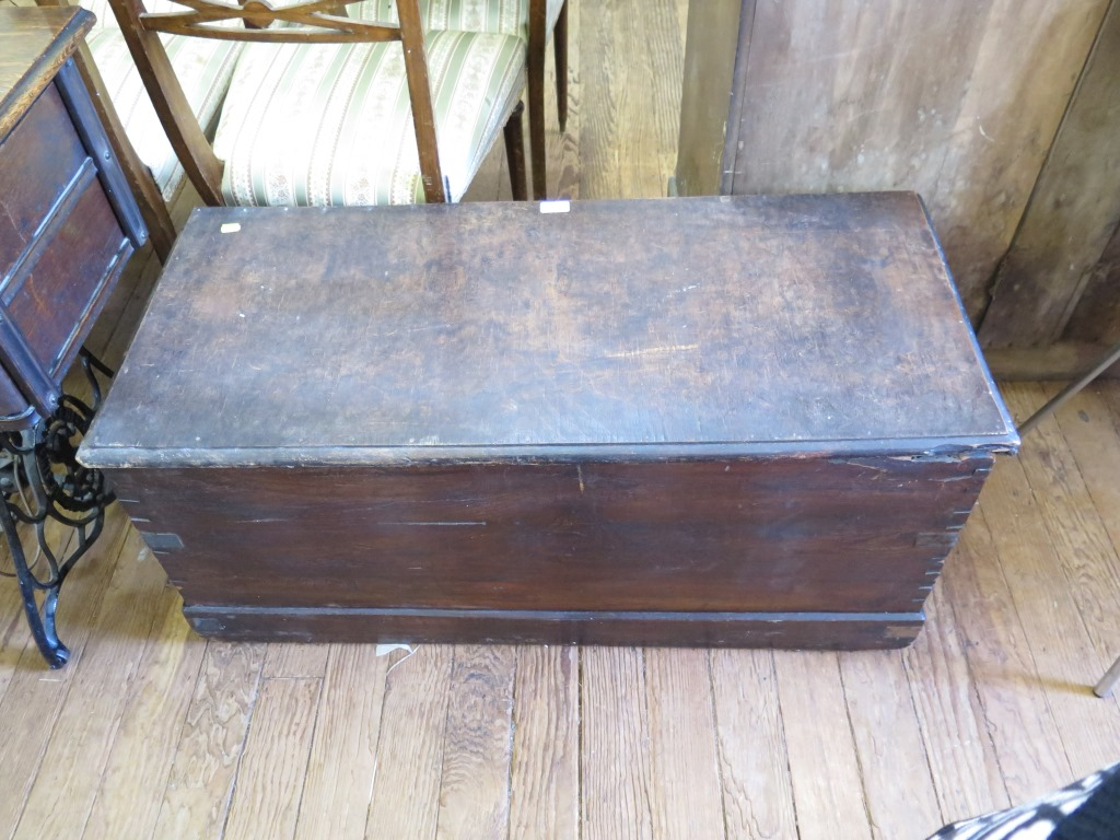 Lot 11 - A stained wood blanket box, 102cm wide, 45cm high, 44cm deep