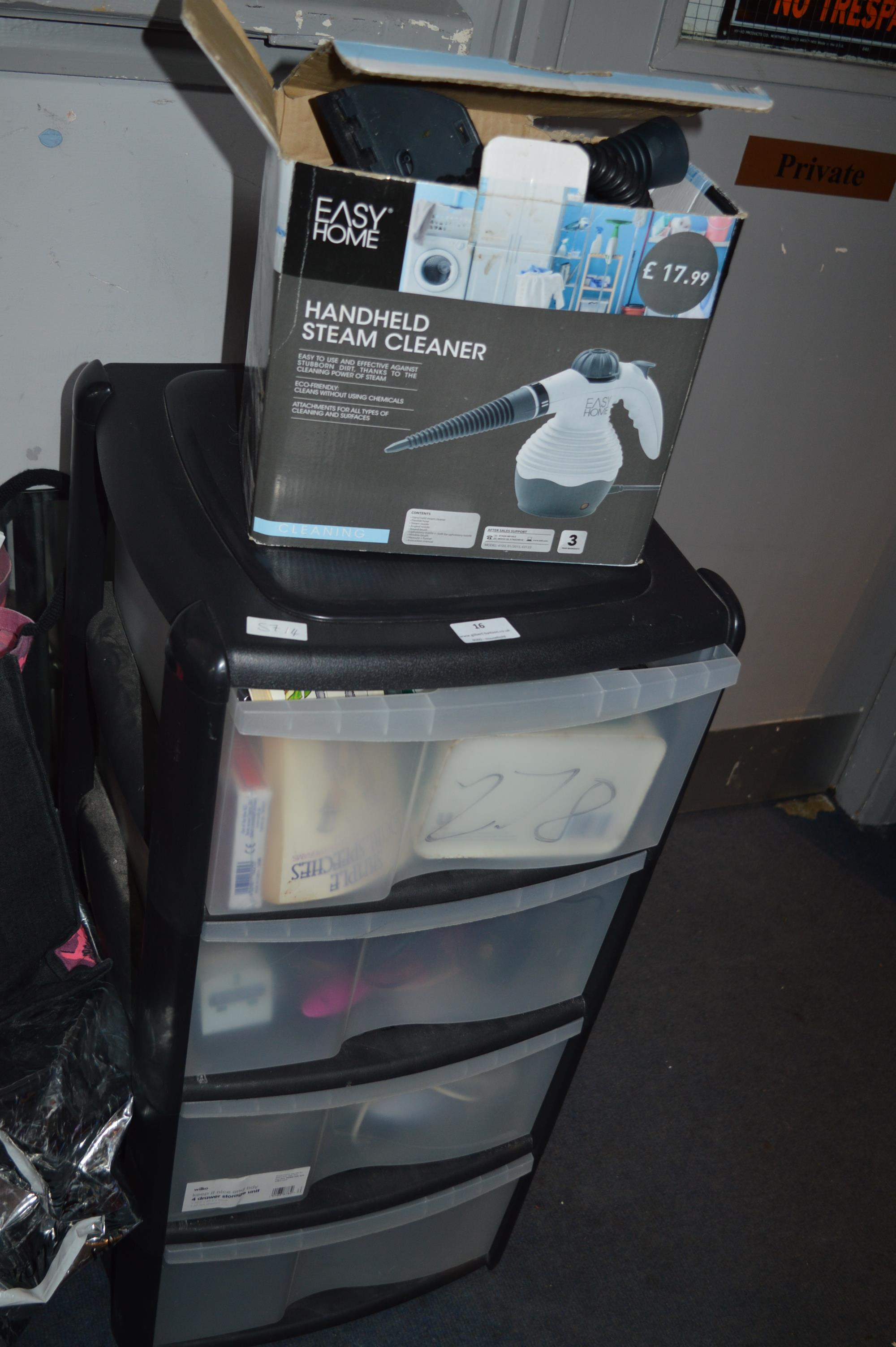 Lot 16 - Four Drawer Plastic Unit Containing Household Items, Hand Steam Cleaner, etc.