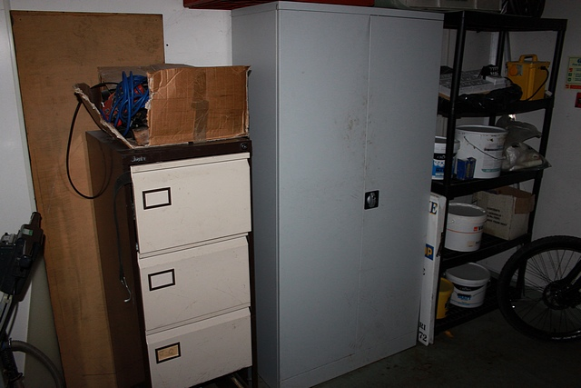 Lot 132 - Metal 2 door cupboard, filing cabinet and five tier storage rack