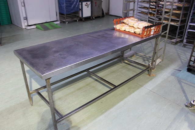 Lot 67 - Stainless steel table 2160mm x 790mm