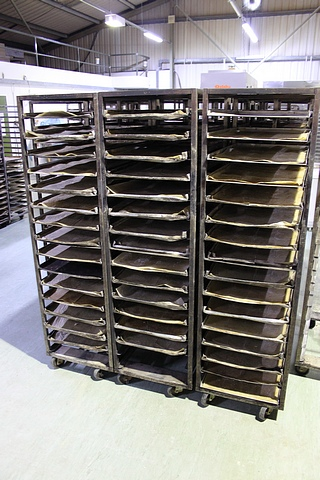 Lot 108 - 4 x stainless steel 24 tray bakery rack 760mm x 530mm x 1800mm