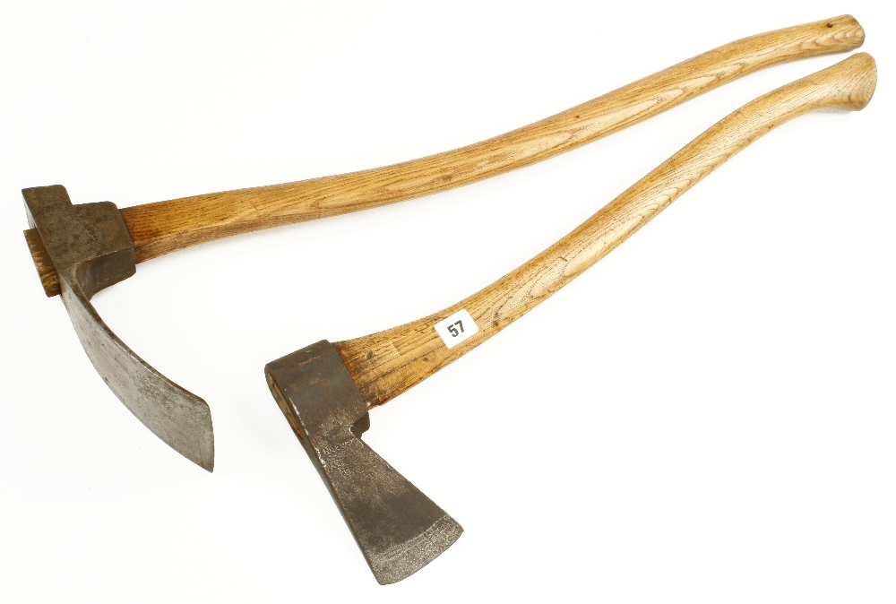 A carpenter's adze by MARPLES and a small masting axe by GREAVES G+