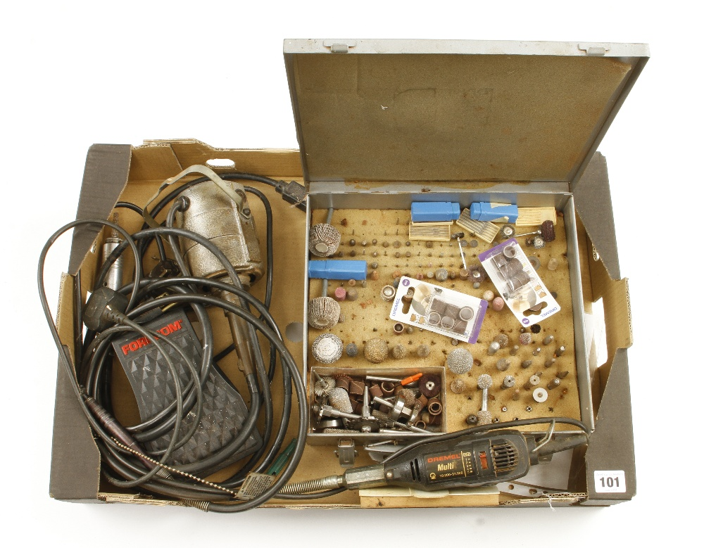 Lot 101 - A DREMEL multi tool and another by FOREDOM with foot control and various attachments G+