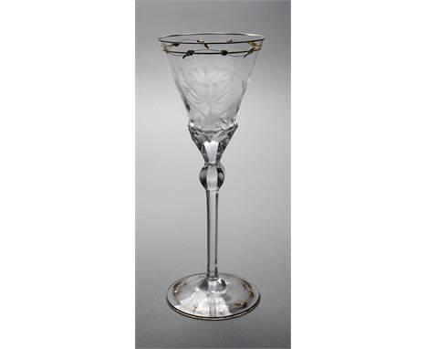 """Moser Karlsbad Trinkglas Entwurf um 1902, spätere Ausformung, aus der Trinkglasgarnitur """"Rose"""", farbloses Glas, geschliffen,"""