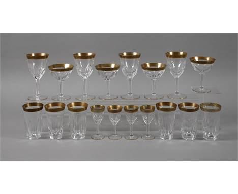 Moser Karlsbad Konvolut Trinkgläser 1. Hälfte 20. Jh., ungemarkt, farbloses Glas, Scheibenfuß, facettierter Schaft in einen g