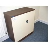 "Cream and brown Metal STORAGE CABINET 36"" x 18"" x 40"""
