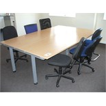 4 station WORK DESK 2.4m long x 1.6m wide with 6 various Chairs.