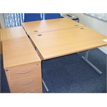 "2 off 1200mm x 1800mm DESKS with pedestals and chairs, with BOOKCASE and small TABLE 28"" x 18"""