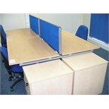 4 station WORK DESK 2.4M long x 1.6M wide with central divider, with 3 Chairs and 2 Pedestals