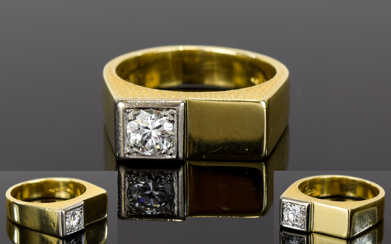 Lot 19 - Gents 18ct Yellow Gold Single Stone Diam