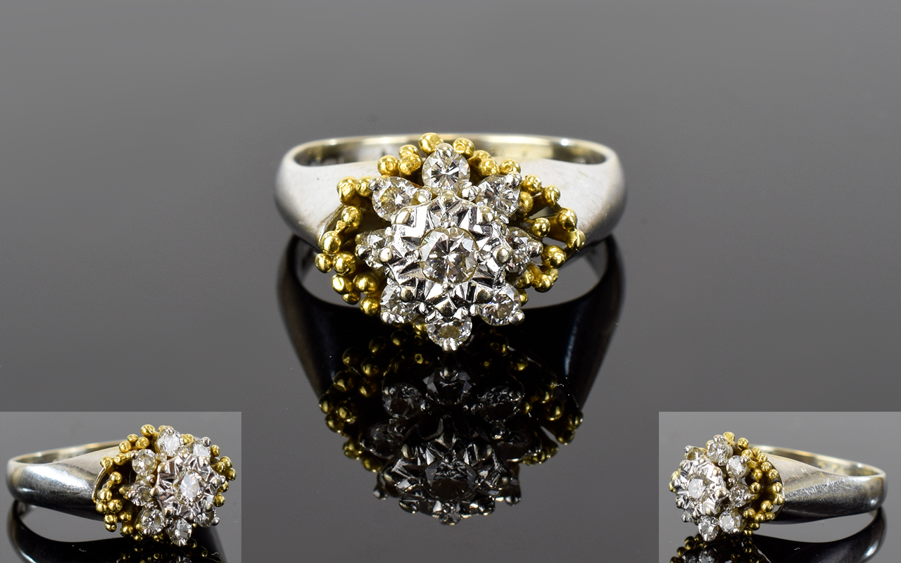 Lot 35 - 18ct Gold Set Diamond Cluster Ring. Flow