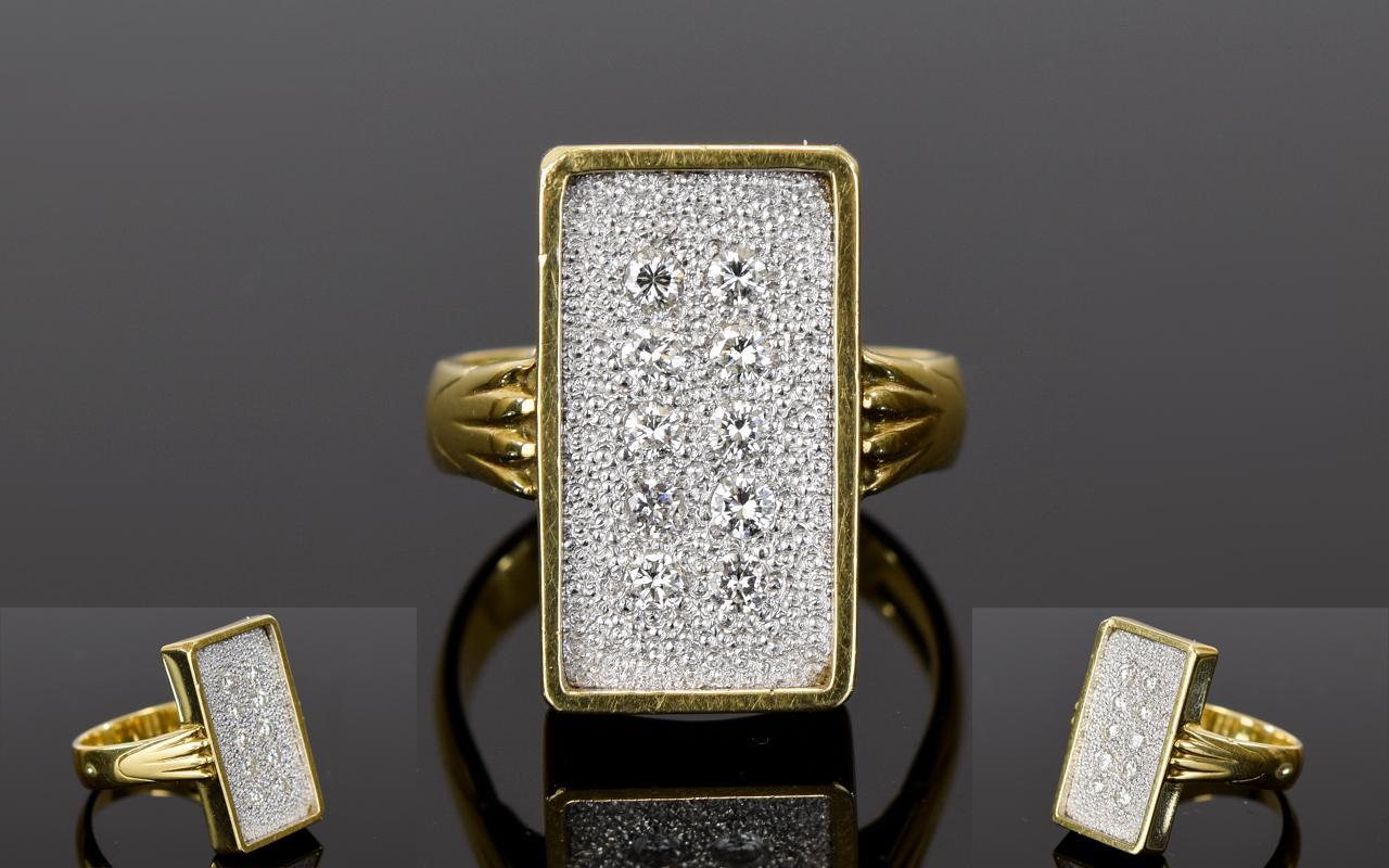 Lot 24 - 18ct Yellow Gold Rectangular Shaped Diam