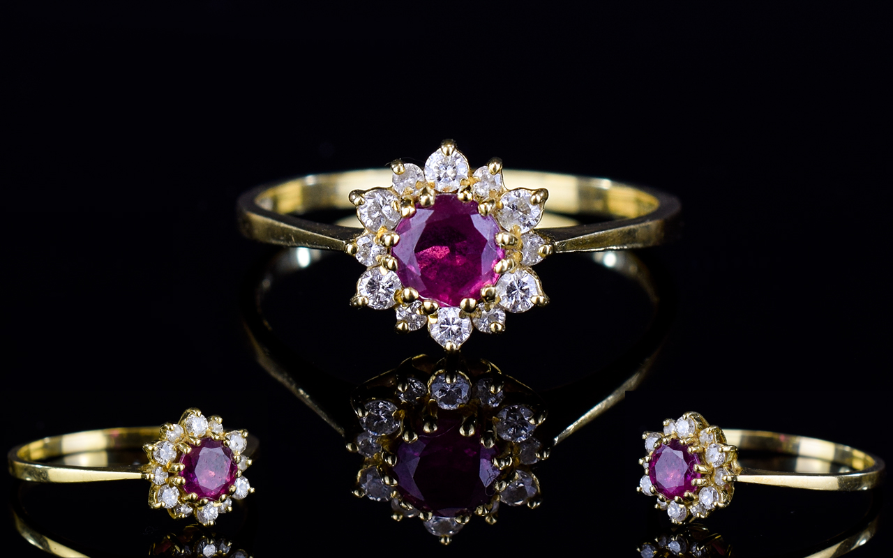 Lot 17 - 18ct Gold Dress Ring, Set With A Central