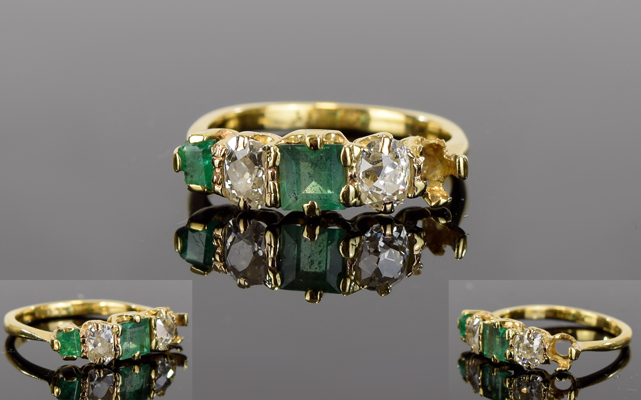 Lot 43 - 18ct Gold - Antique Period Emerald and D