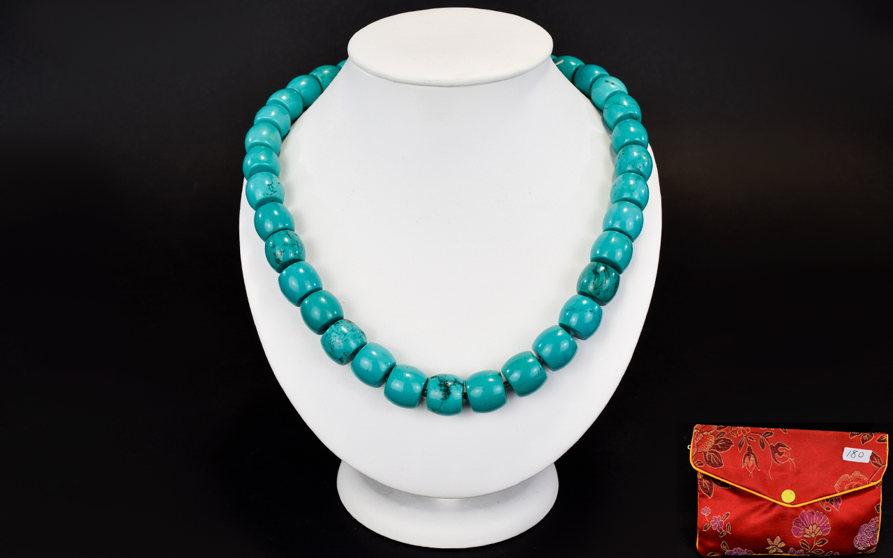 Lot 180 - A Turquoise And Silver Necklace 600cts o