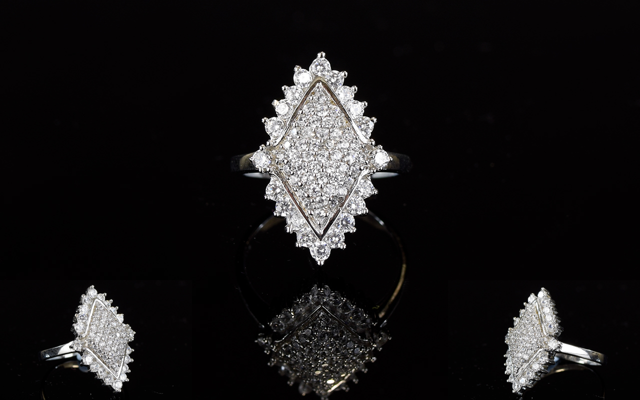 Lot 172 - Silver And CZ Dress Ring Sterling silver