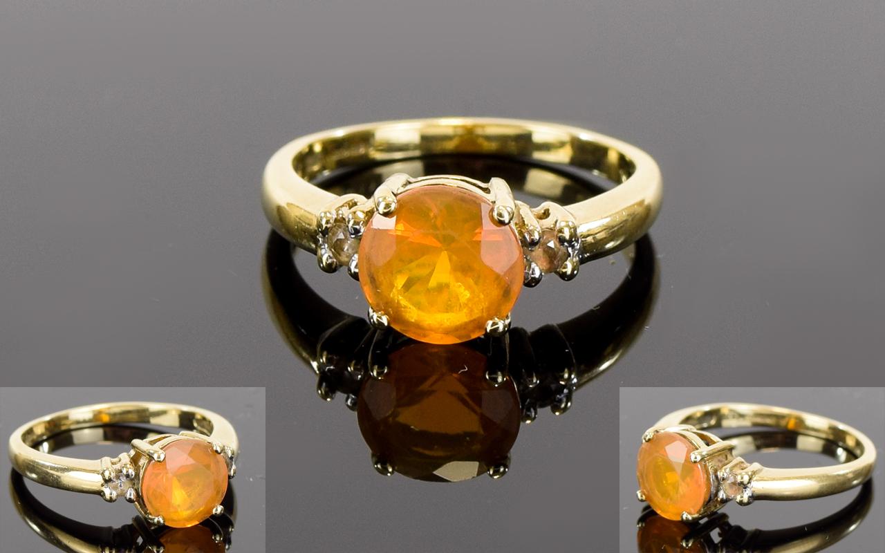 Lot 89 - 9ct Gold Single Stone - Brazilian Fire O
