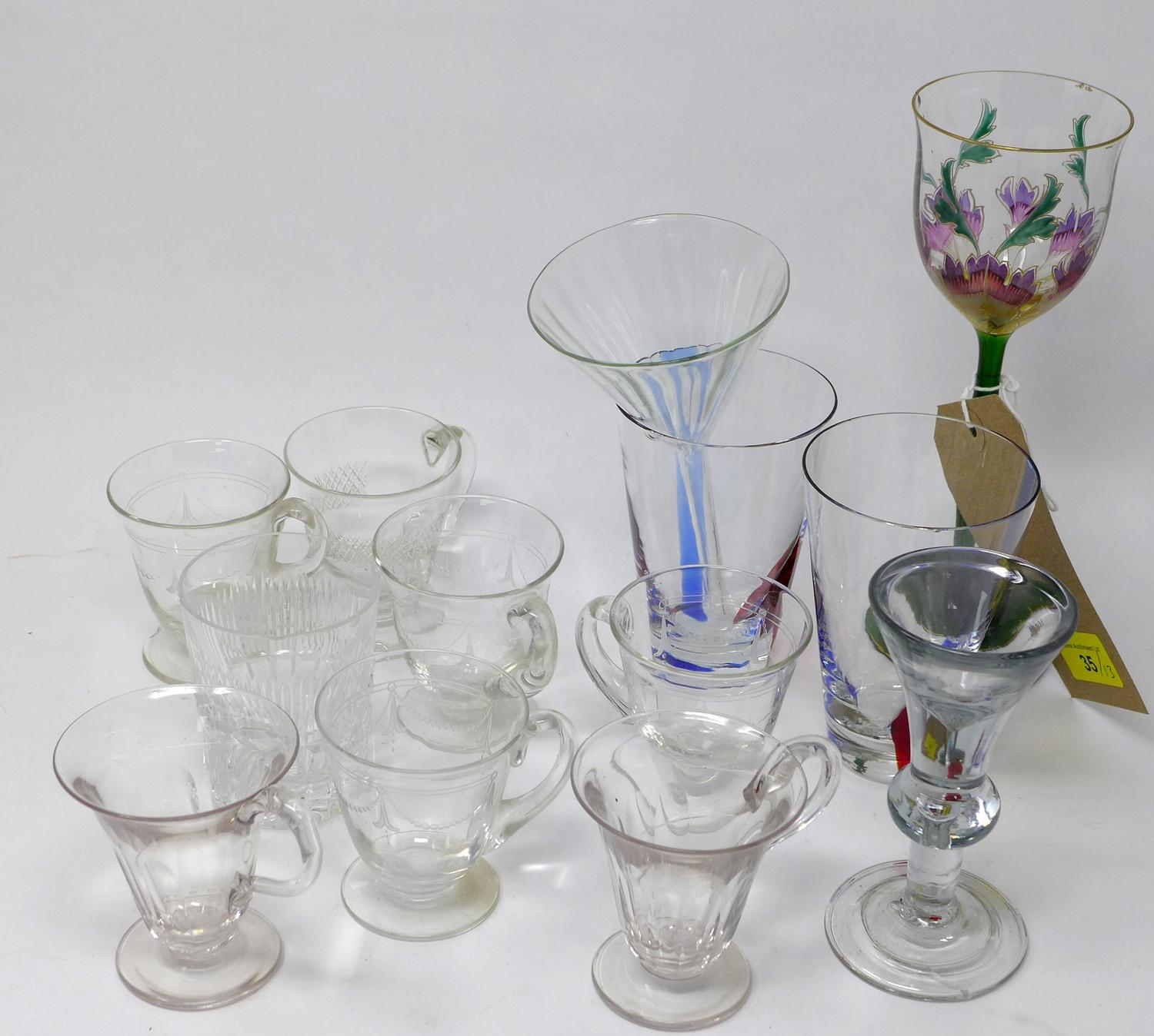 Lot 35 - An assorted collection of glasses, to include water glasses, drinks glasses, glass funnel, and a