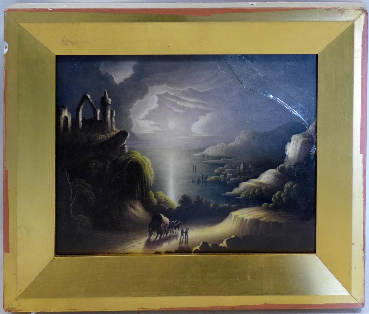 Lot 379 - A late 19th/early 20th century painting on porcelain depicting a coastal scene at night, signed