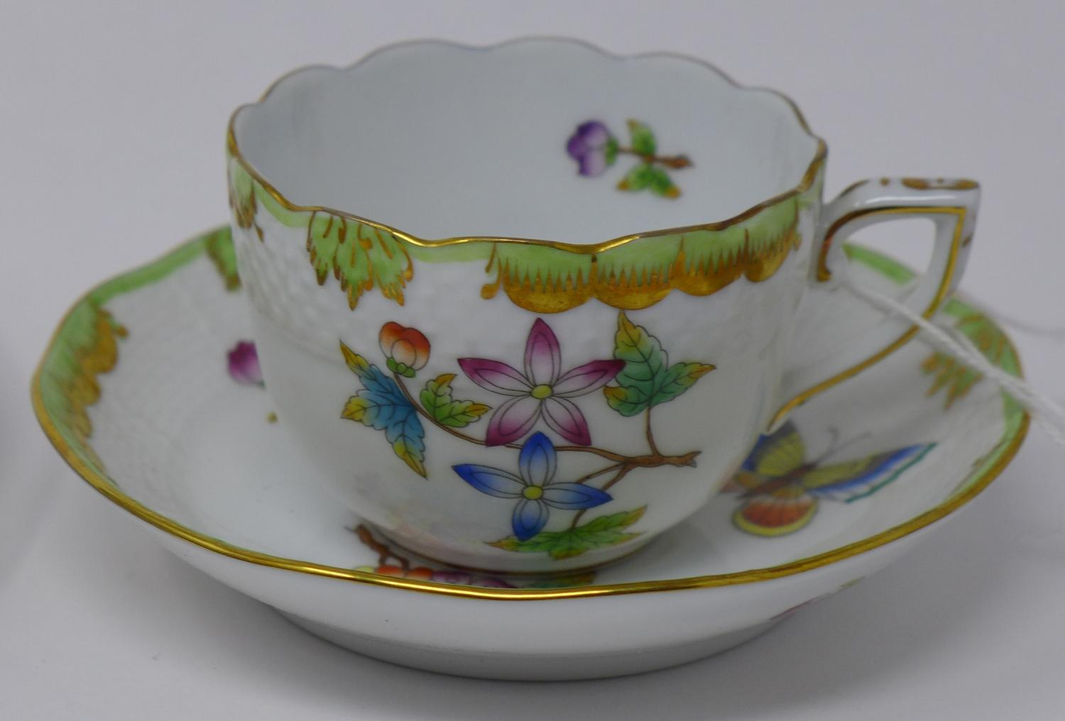 Lot 44 - A Herend porcelain trio, cup, saucer and plate