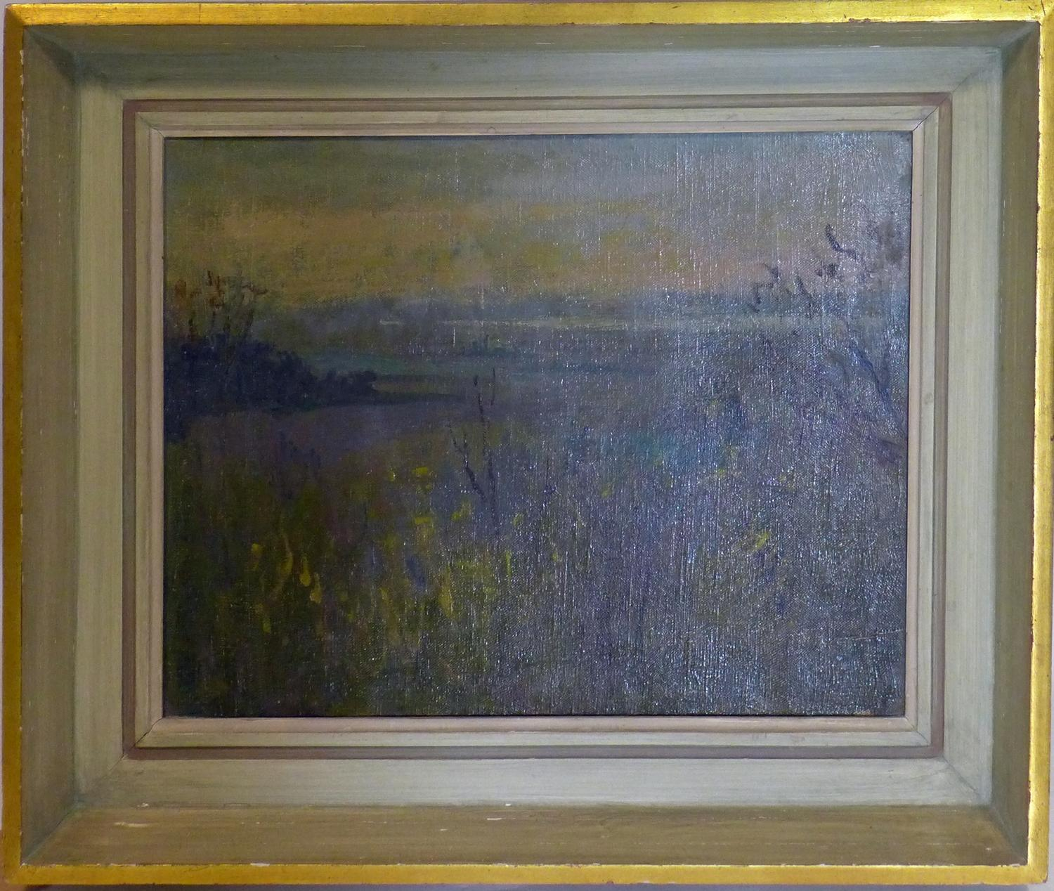 Lot 10 - Margaret Thomas RA, NEAC (1916-2016) A framed abstract oil on canvas of Thames marshland, 34.5 x