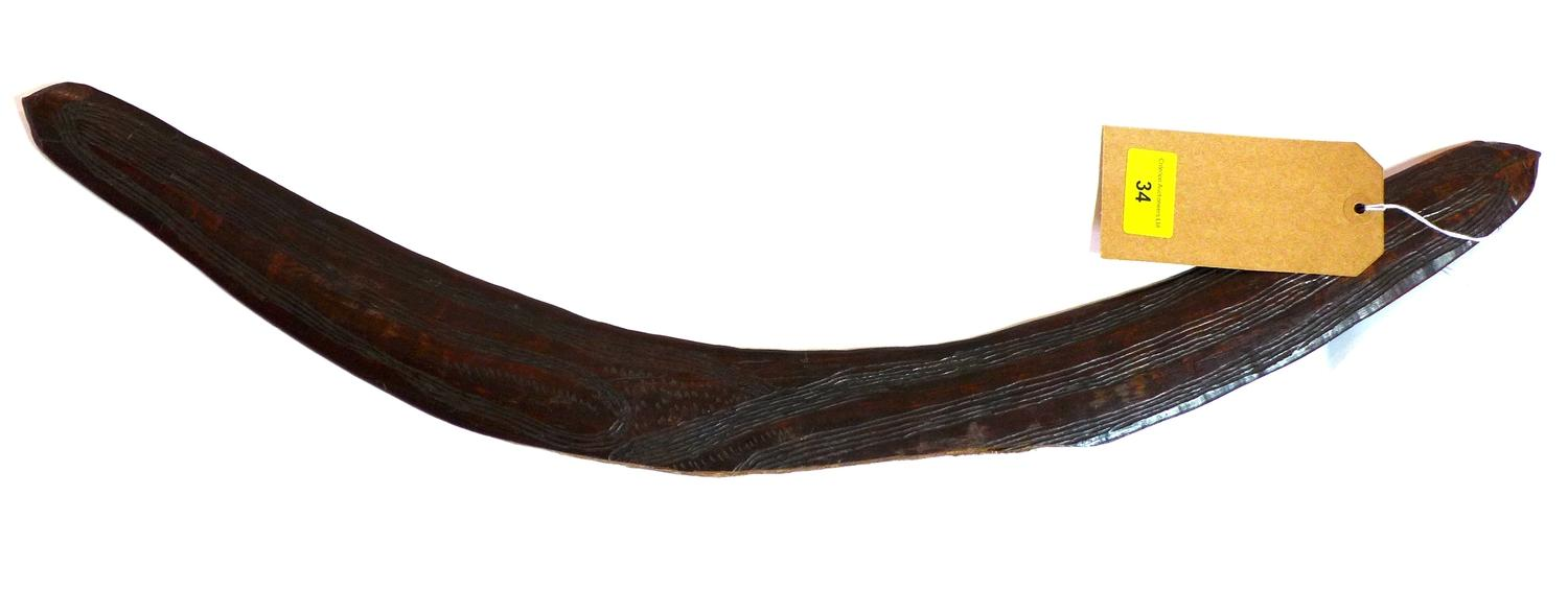 Lot 34 - An early 20th century Australian boomerang, L.65cm