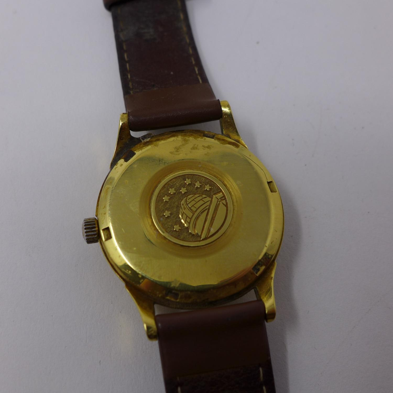 Lot 26 - An Omega Constellation gold plated gentleman's automatic chronometer, silvered dial with baton