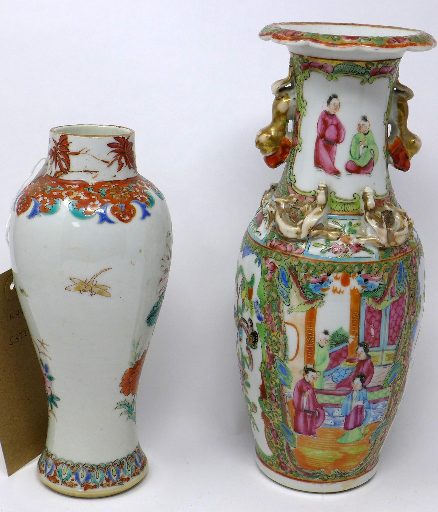 Lot 55 - Two 19th century, Chinese vases: 1 Canton famille rose example H: 25cm and other H: 20cm