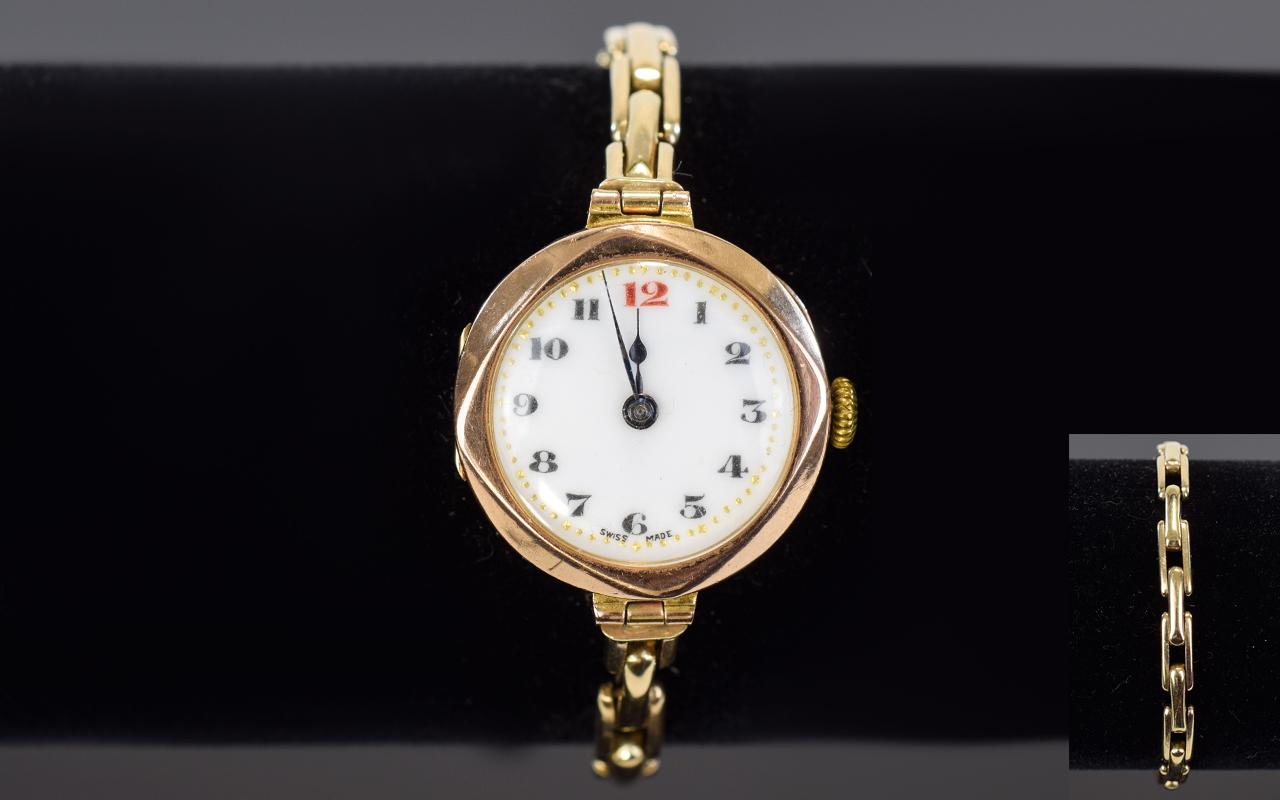 Lot 90 - Ladies Swiss Made - Mechanical 9ct Gold