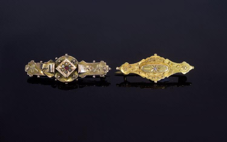 Lot 53 - Victorian Period 15ct Gold Set Ornate Br