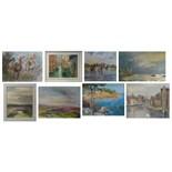Lot 141 - N.E.Pandus Whitby, signed, watercolour 34 x 47cm, two watercolours of horses Jo Heitman,