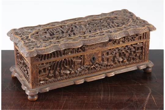 A Chinese export sandalwood box, late 19th century, 27cm A