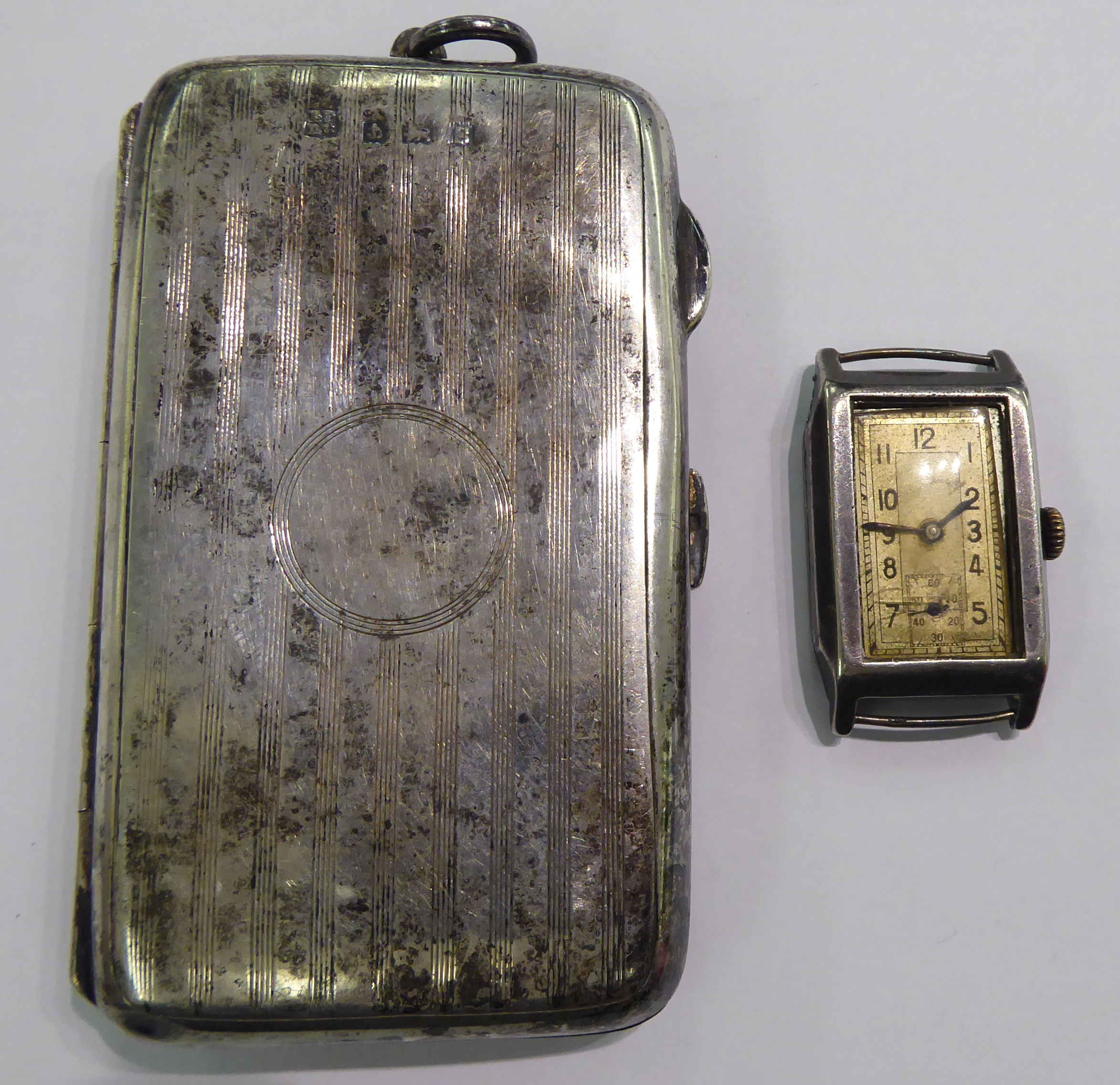 Lot 1 - A lady's 'vintage' silver rectangular cased wristwatch,