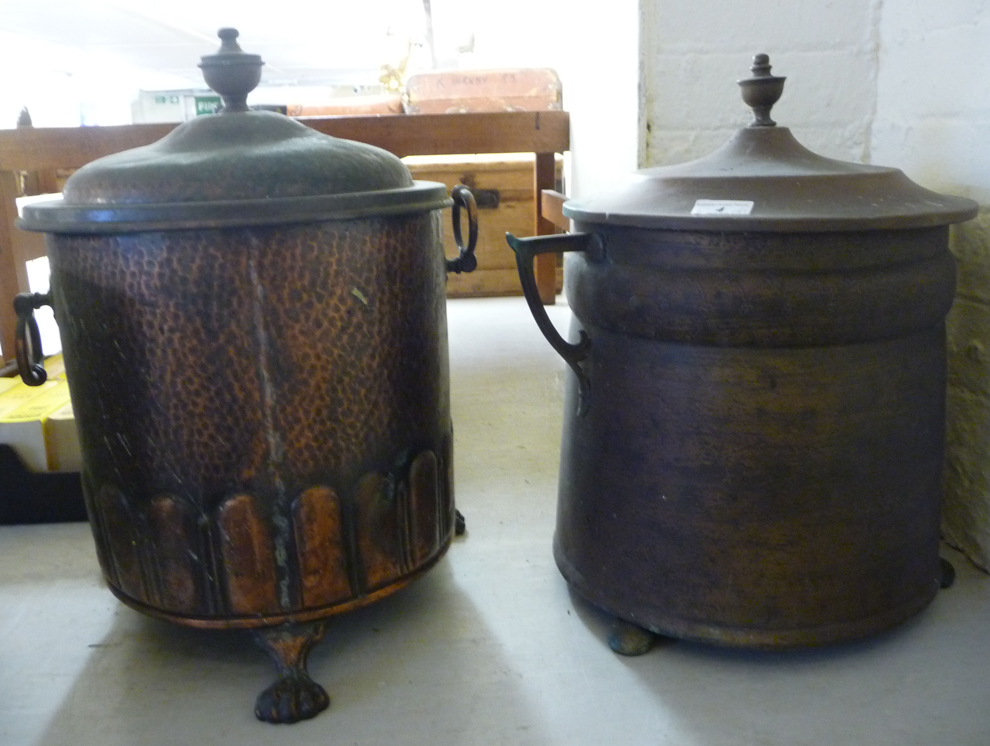 Lot 4 - Two similar early/mid 20thC copper coal bins of drum form 14''h BSR