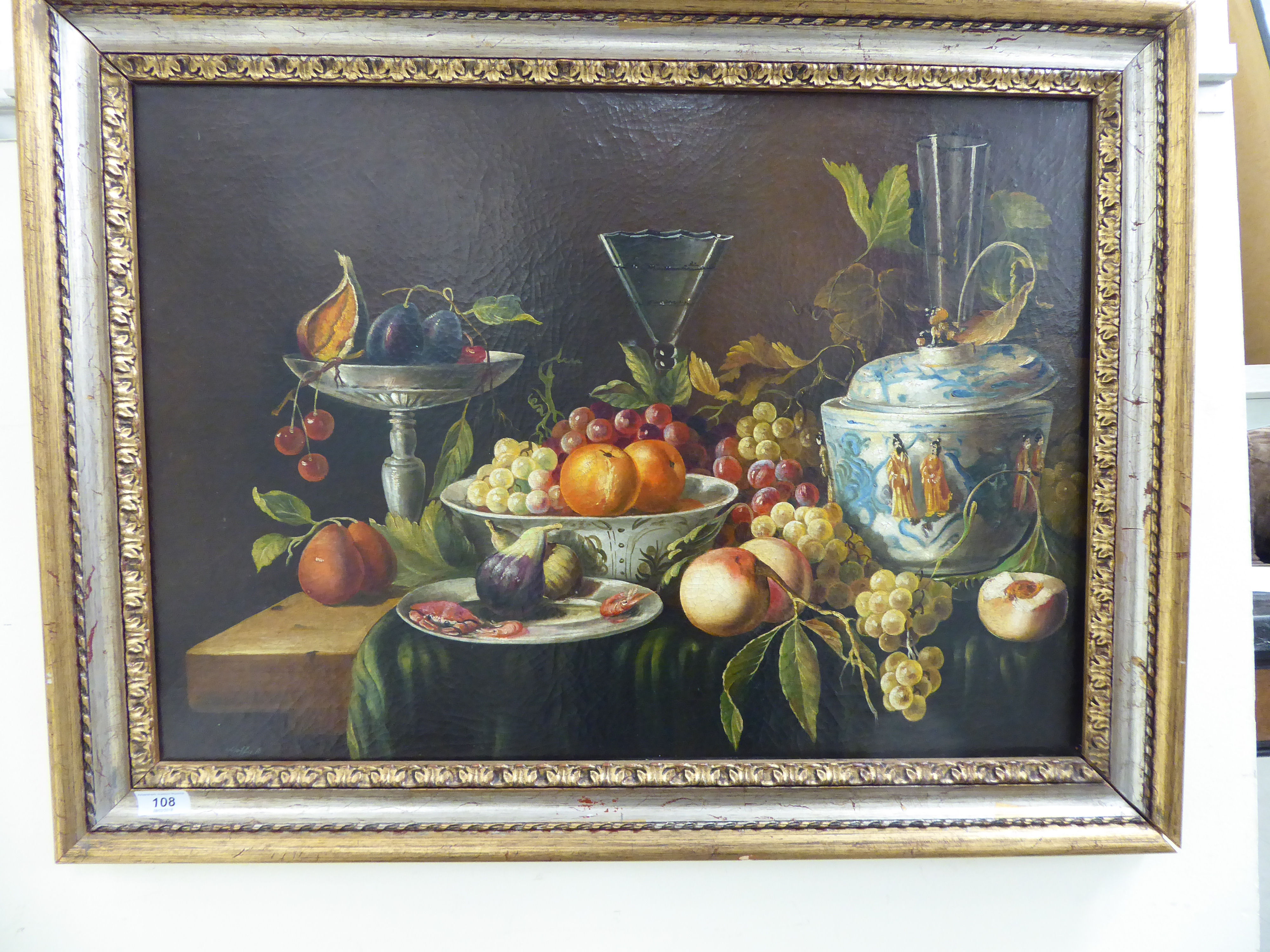 Lot 108 - 17thC style Dutch School - a still life study of Chinese porcelain bowls containing grapes, peaches,