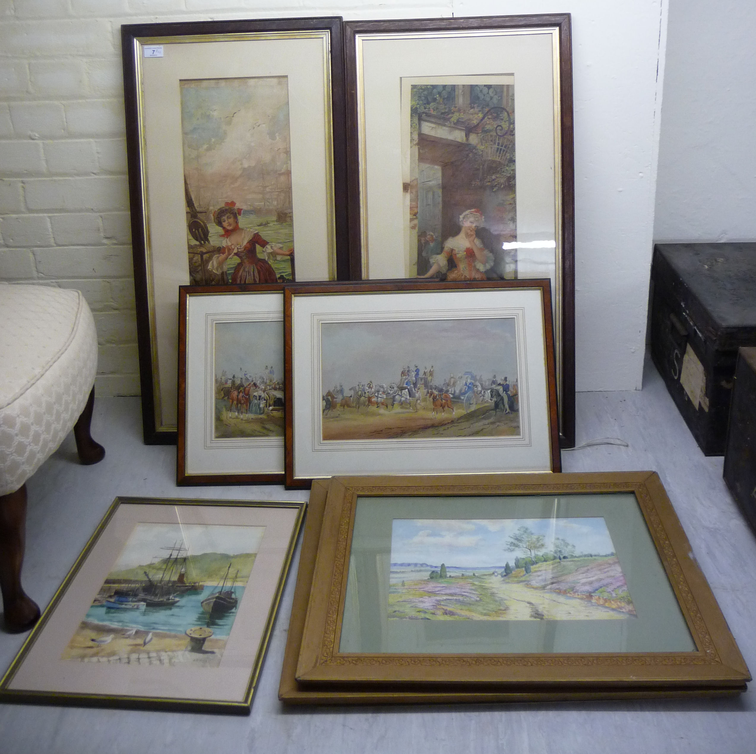 Lot 7 - Framed pictures and prints: to include JGR - a Victorian scene with horsedrawn carriages