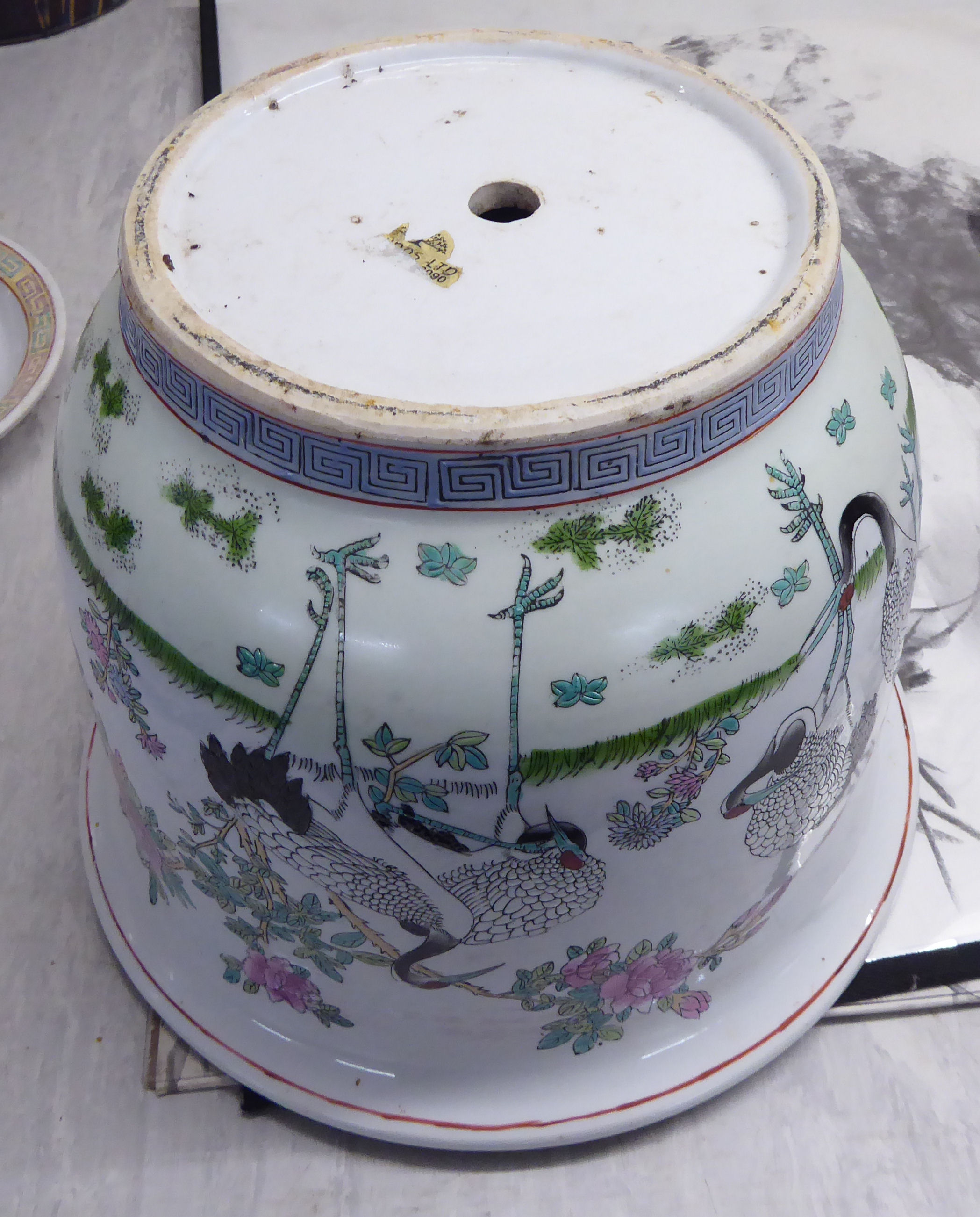 Lot 87 - Four similar 20thC pottery and porcelain jardinieres: to include a Chinese example,