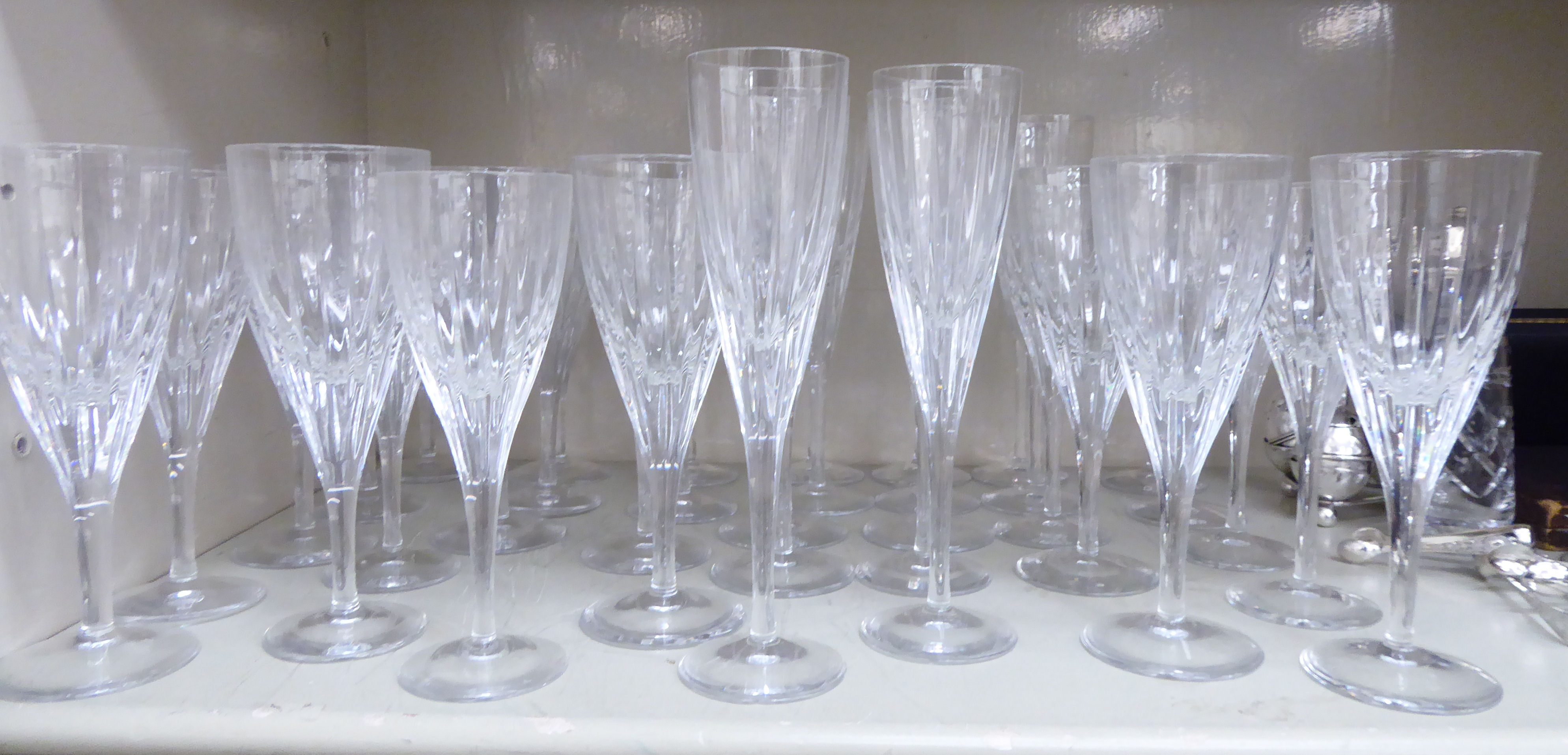 Lot 80 - Atlantis moulded glass pedestal wines and Champagne flutes OS1