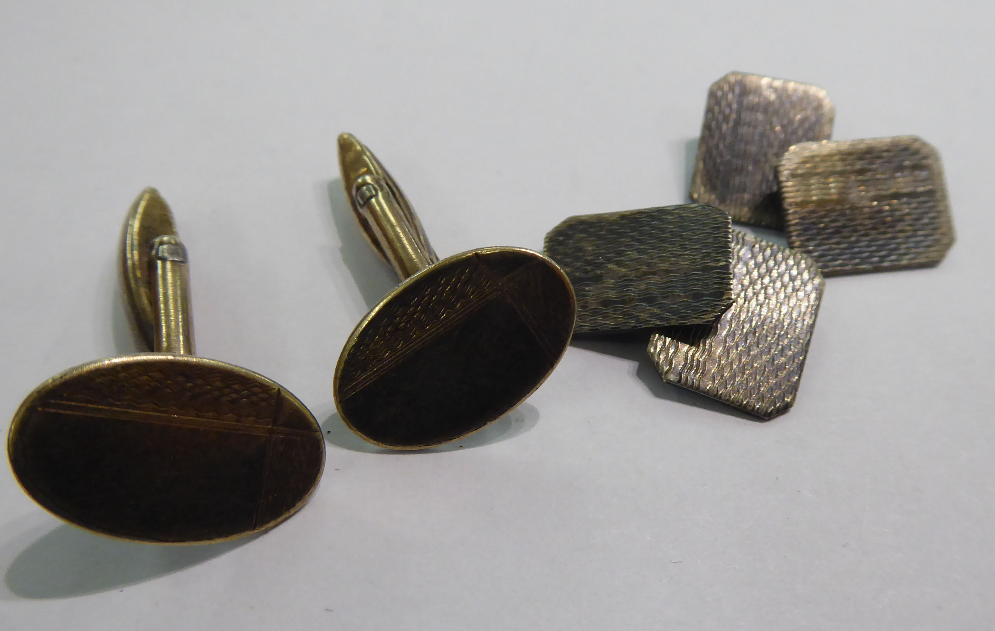 Lot 47 - Two pairs of white metal cufflinks with engine turned decoration 11