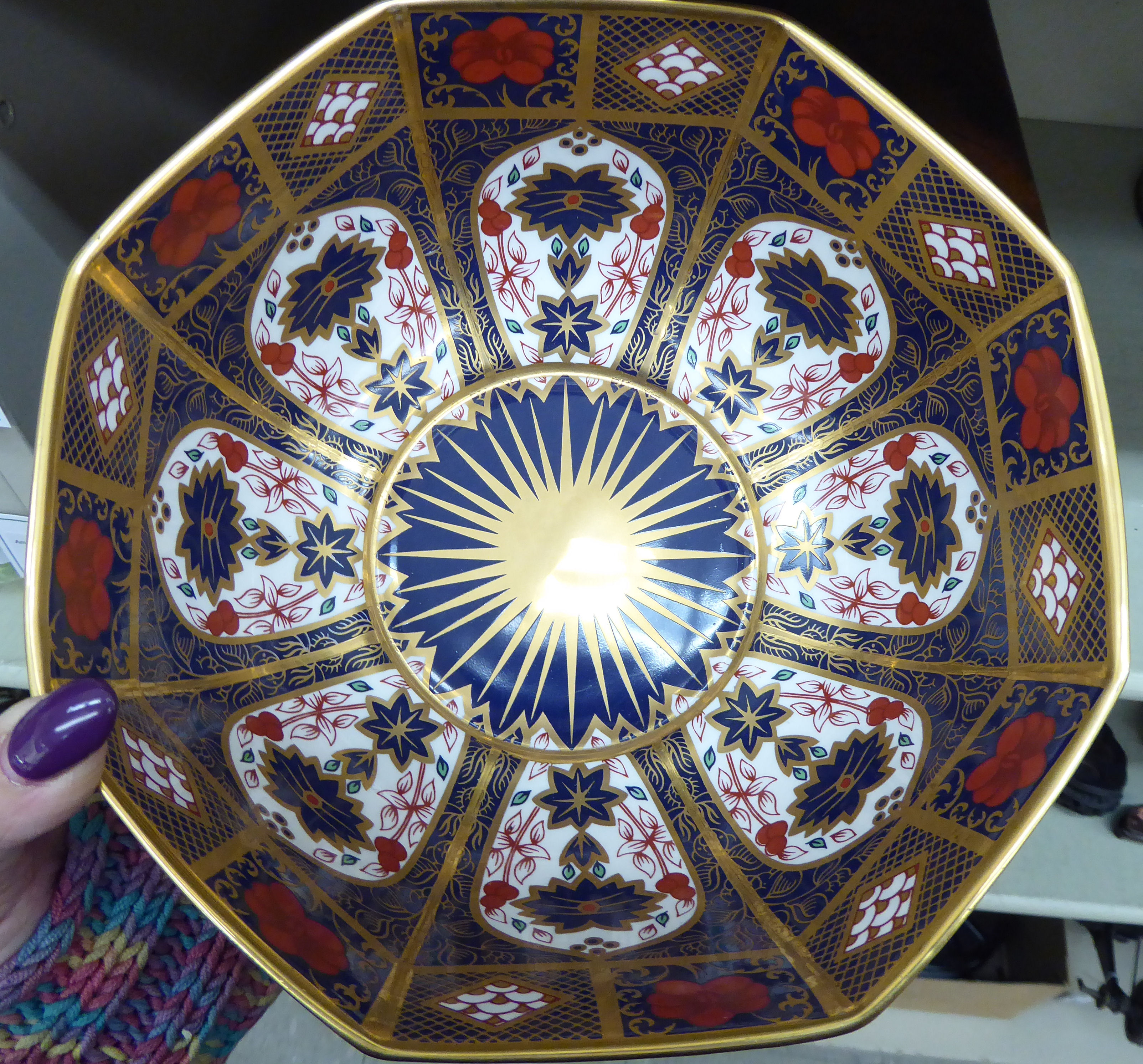 Lot 97 - A Royal Crown Derby style china fruit bowl of octagonal form,