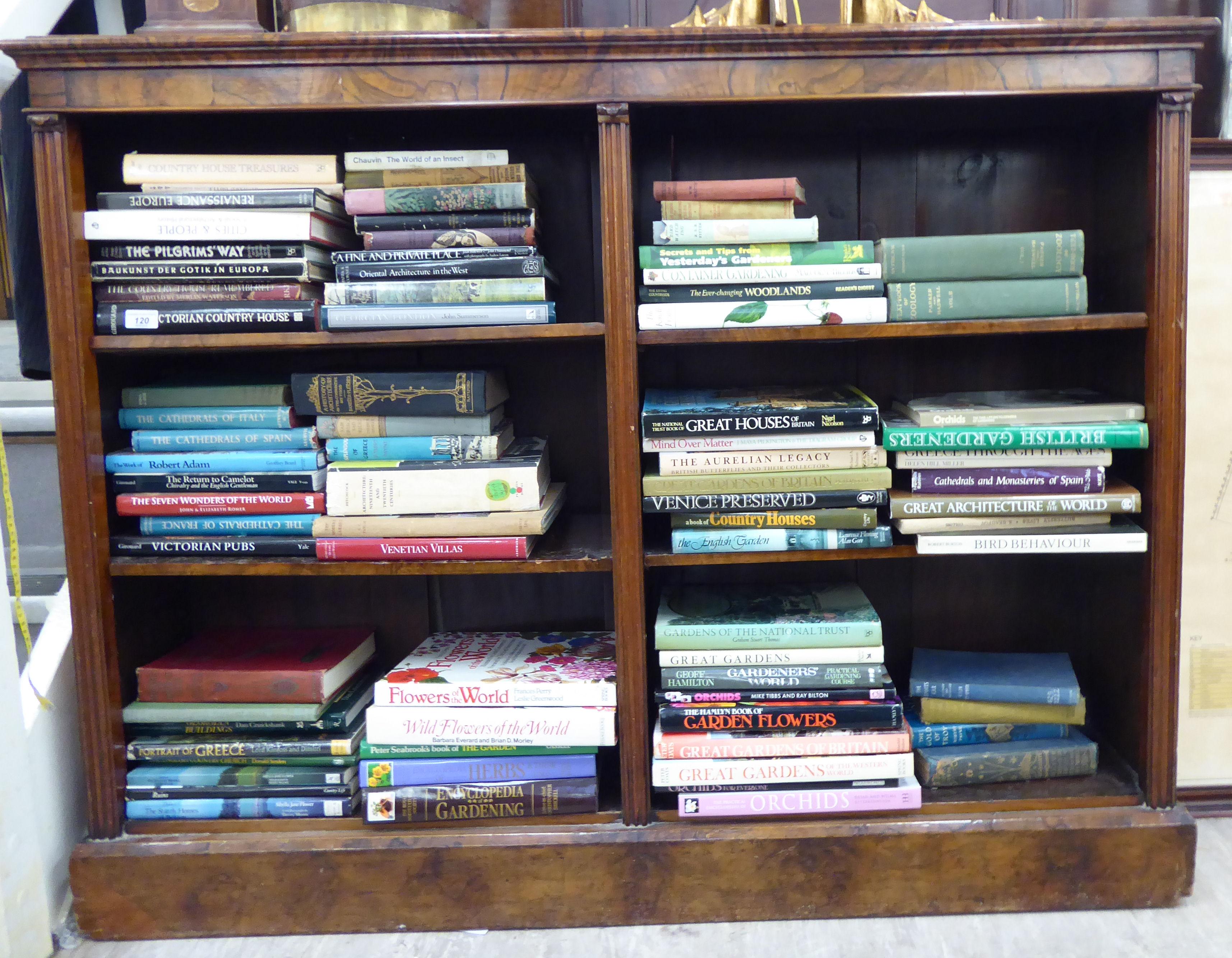 Lot 18 - A Victorian burr walnut veneered open front dwarf bookcase with an arrangement of four height