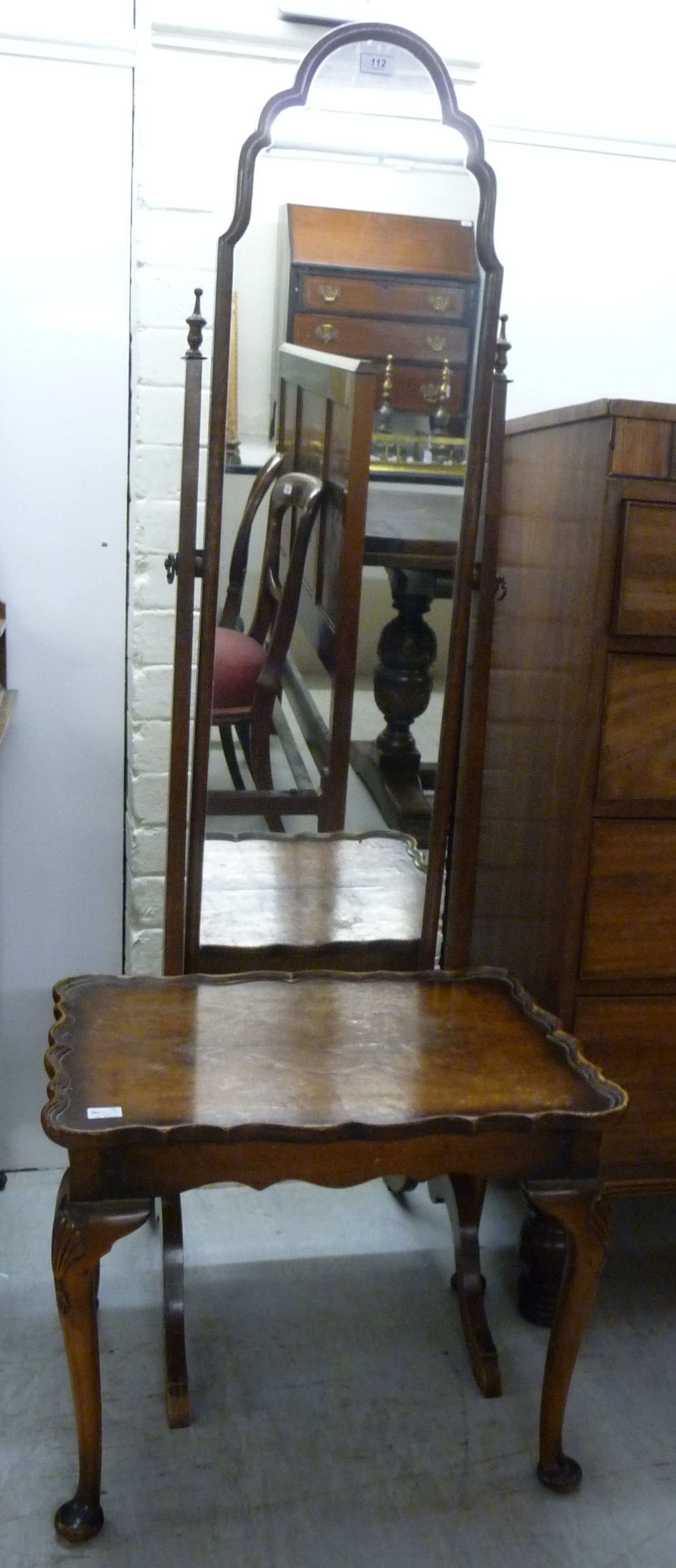 Lot 112 - A 1950s Queen Anne inspired cheval mirror,