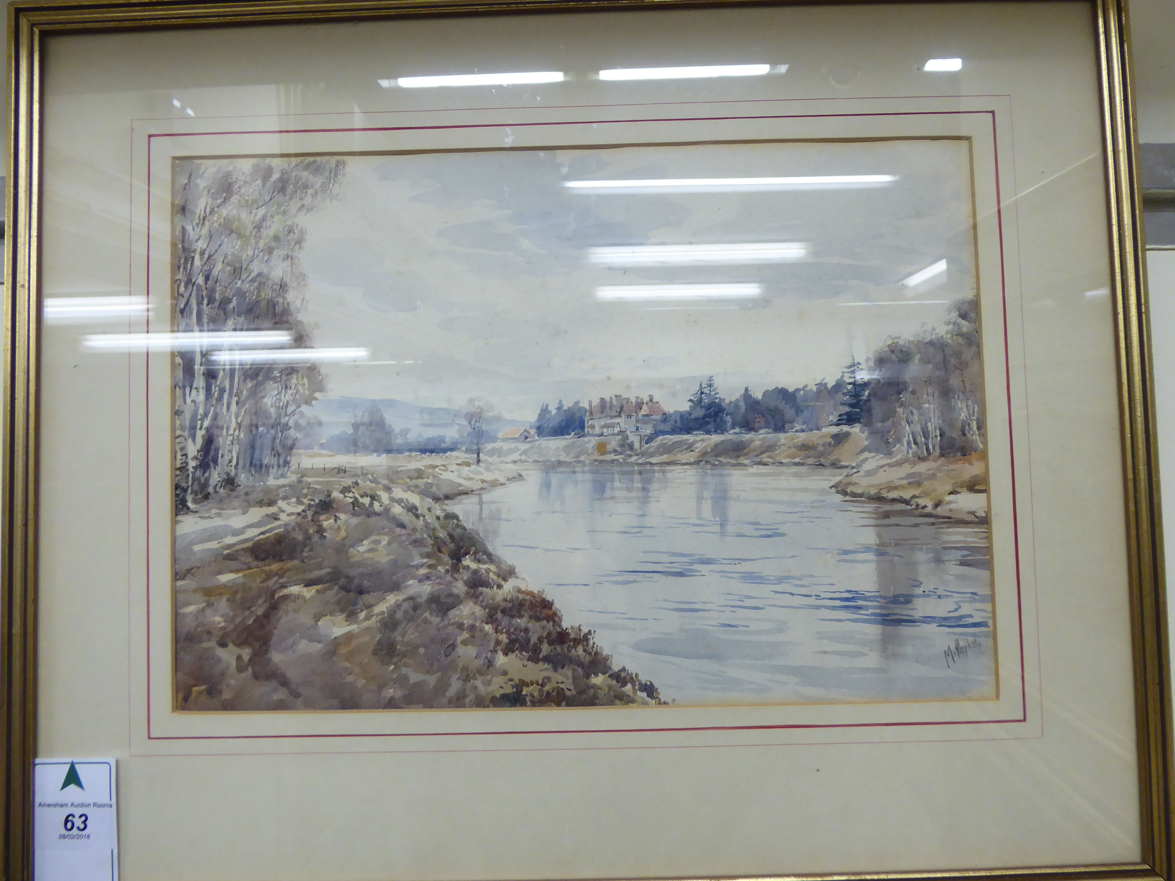 Lot 63 - M Parker - a riverscape with a substantial country house in the distance watercolour bears a