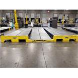 LEWCO ROLLER GRAVITY FEED CONVEYOR RUN - INCLUDING (3) SECTIONS OF 20' X 52'' ADJUSTABLE LEG