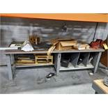 6'' ANVIL SWIVEL BENCH VISE ON ULINE METAL BENCH AND WELDING CURTAIN