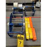 (3) POWERSEAL DOUBLE ROLL TAPE DISPENSERS AND MATERIAL HOOKS