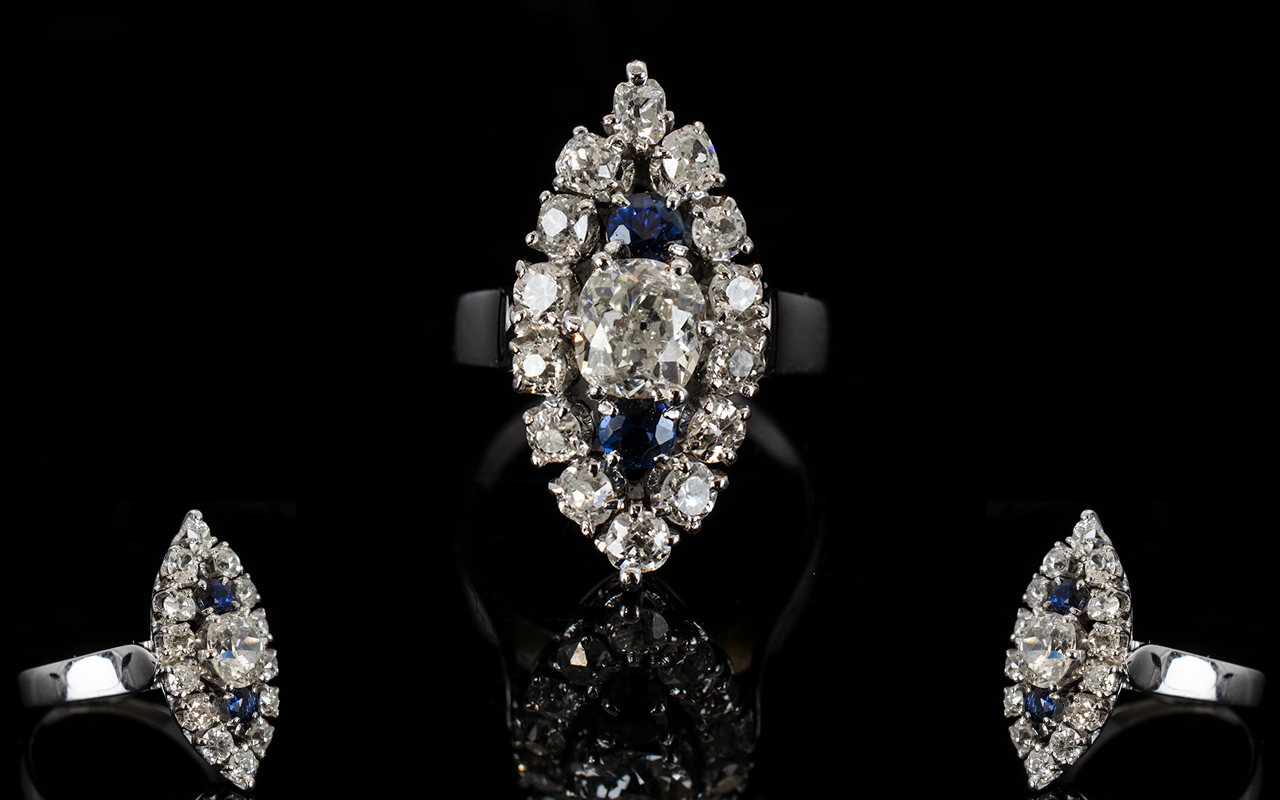 Lot 54 - 18ct Diamond Cluster Ring, Marquise Shap