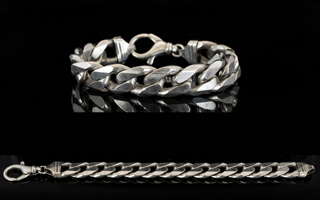 Lot 151 - Gents - Solid Silver Flat Curb Bracelet