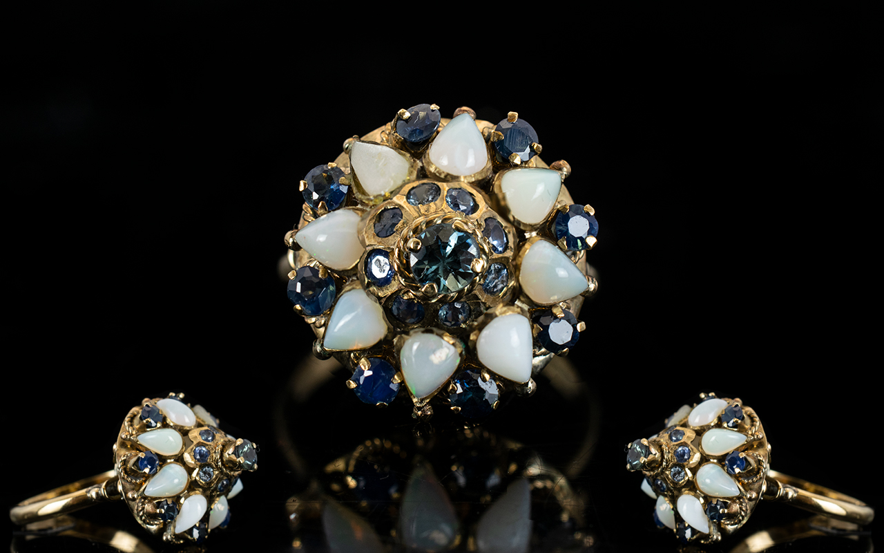 Lot 65 - 14ct Opal and Sapphire Set Dress Ring, O